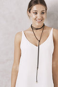 Flower Bolo necklace Black
