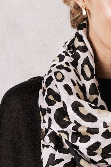 Silk Animal Print Scarf Camel
