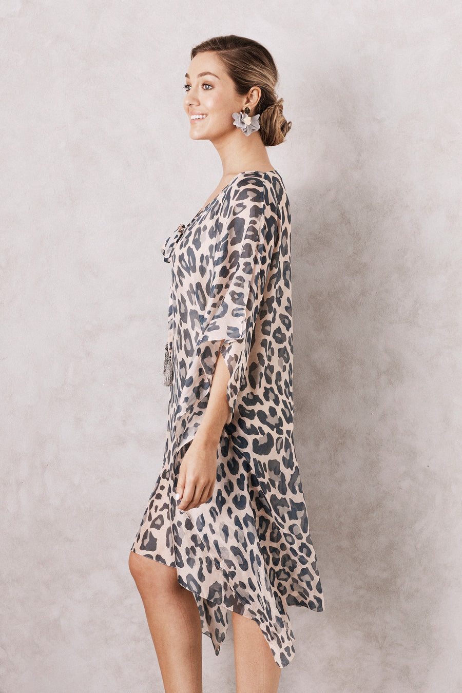 Silk Kaftan Animal Print Blush