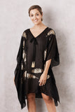 Silk Feather Kaftan Black