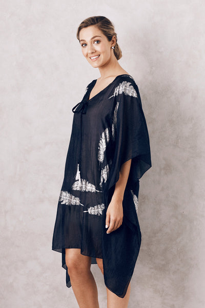 Silk Feather Kaftan Navy