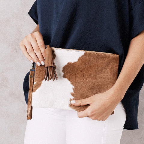 Masai Mara Clutch Tan and White Cowhide