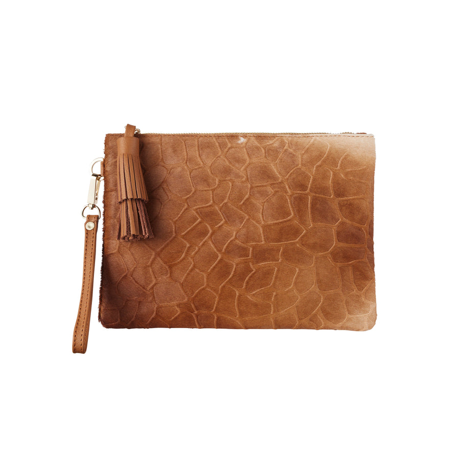 Masai Mara Clutch Textured Giraffe Tan