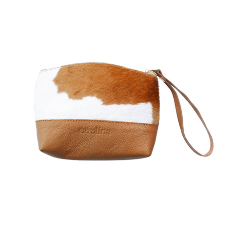 Marie Clutch Tan  and White Cowhide