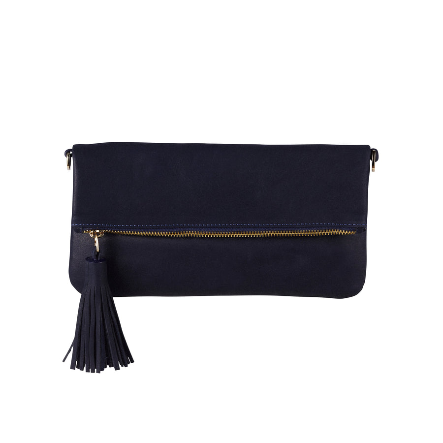 Carolina Cowhide Clutch Navy Metallic