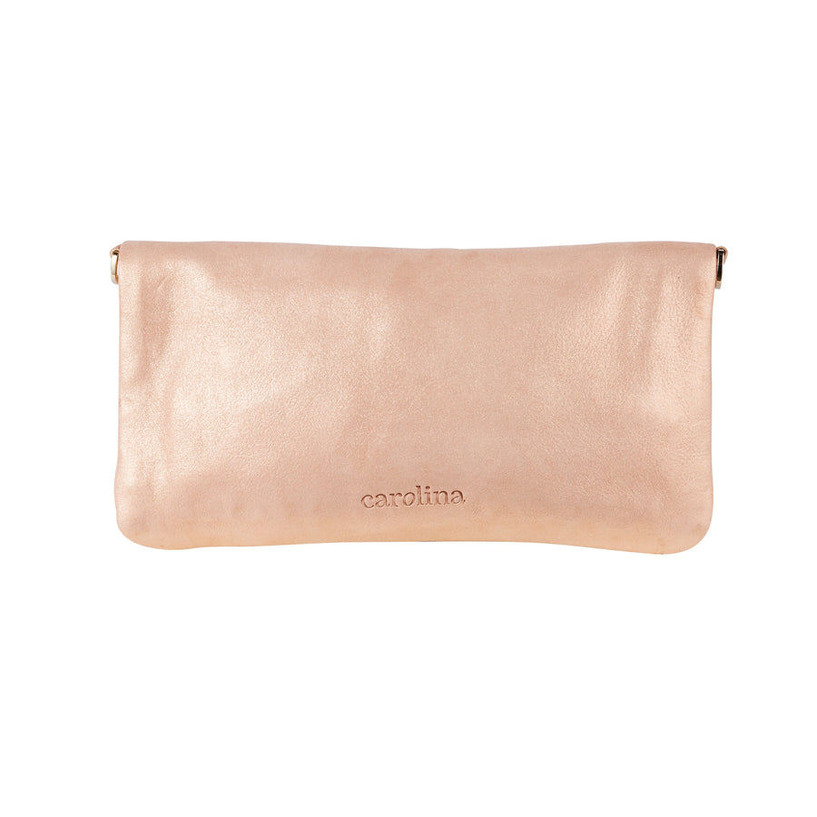 Carolina Cowhide Clutch Rose Gold Metallic