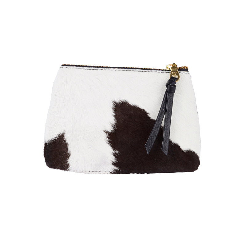 Coin Purse Black and White Cowhide