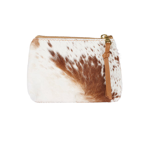 Coin Purse Tan and White Cowhide