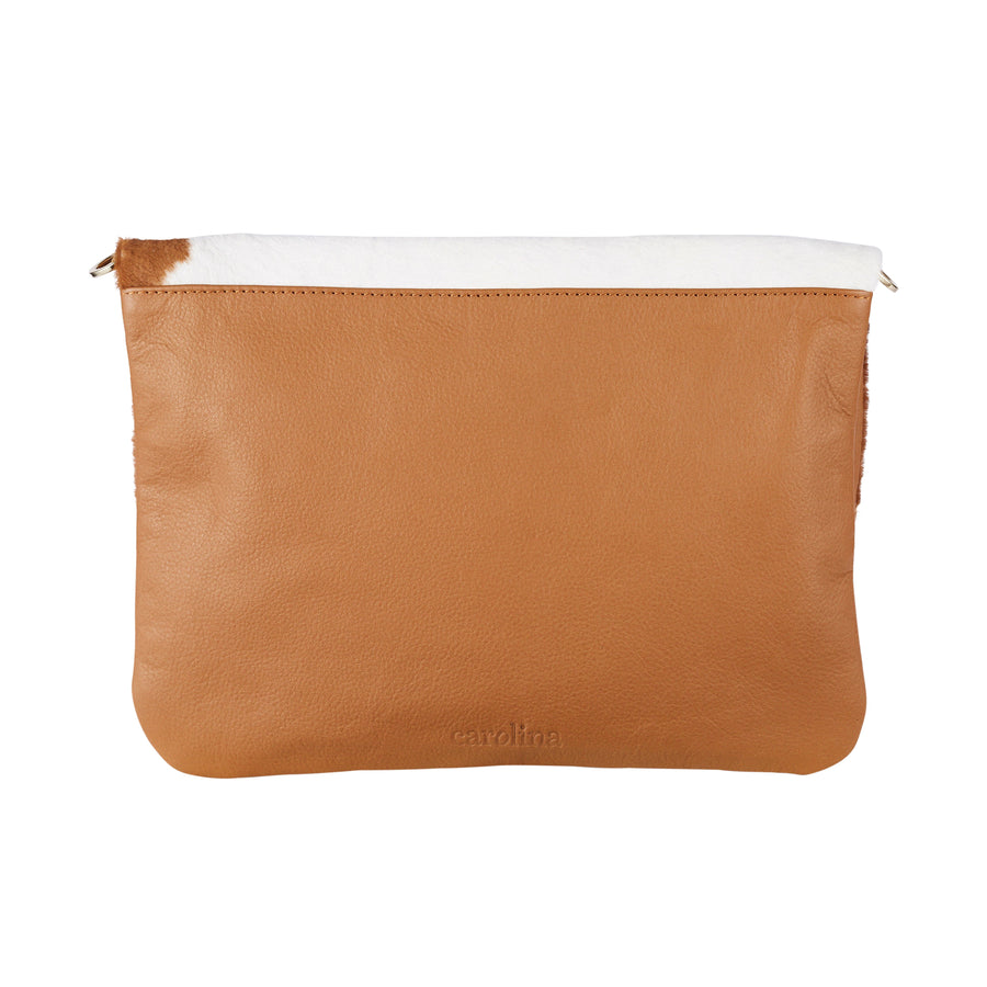Oversized Clutch Tan and White Cowhide