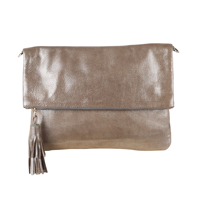 Oversized Clutch Silver Metallic