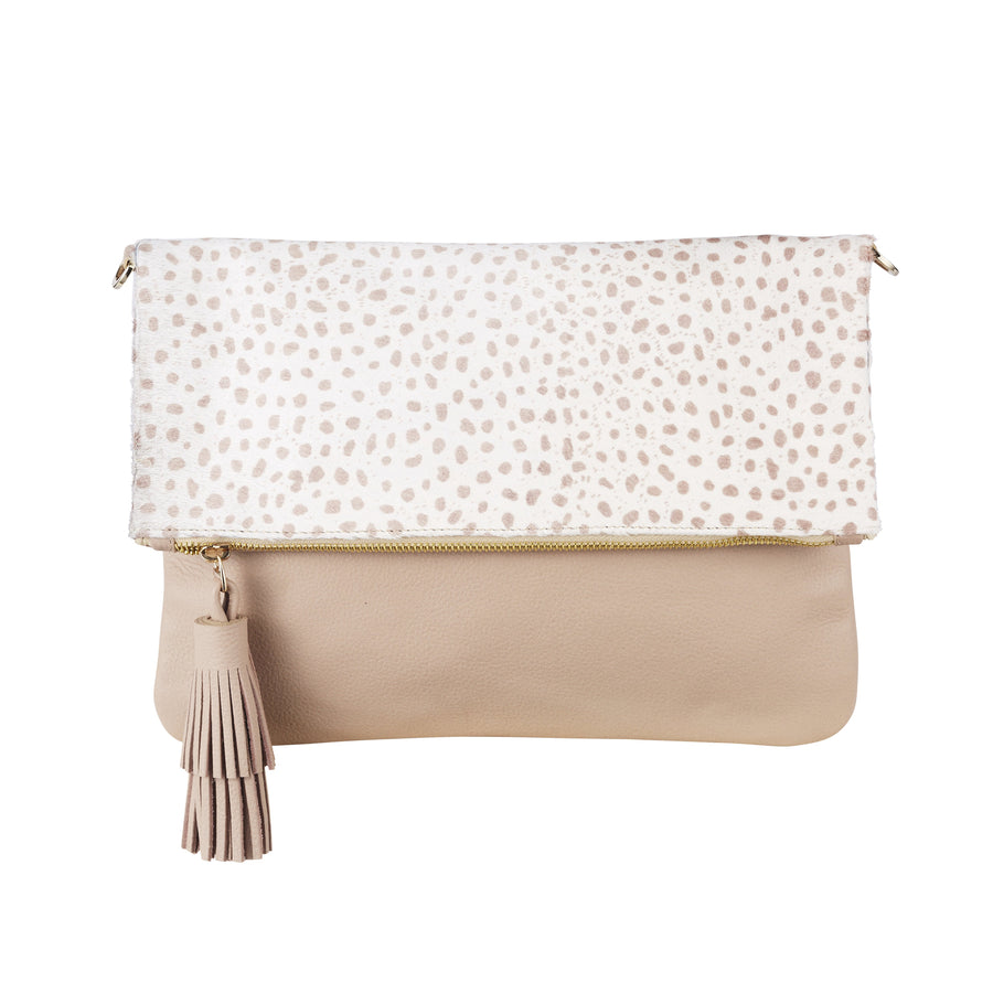 Oversized Clutch Almond Cheetah