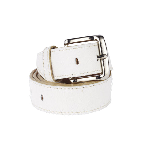 Jeans Belt All White Cowhide