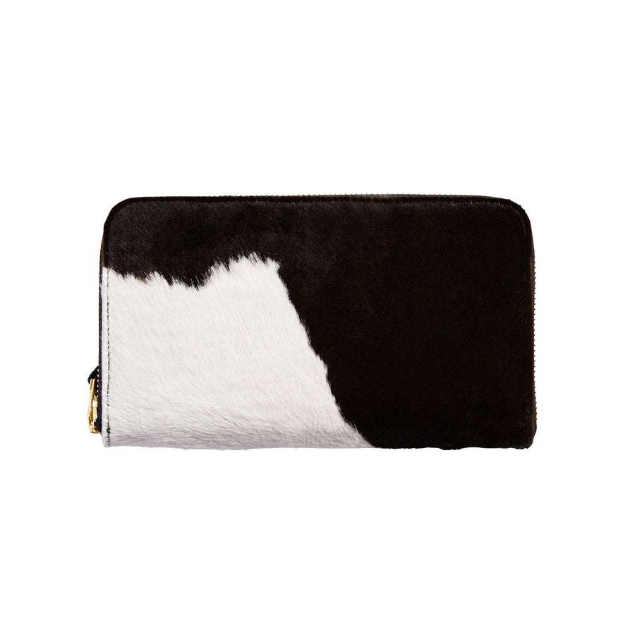 Zipper Wallet Black and White Cowhide