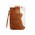 XL Mobile Phone Holder Tan and White Cowhide