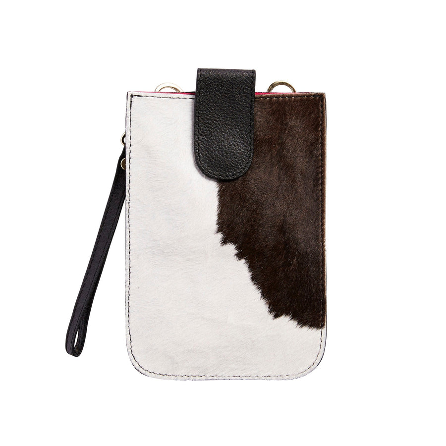 XL Mobile Phone Holder Black and White Cowhide