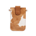 Mobile Phone Holder Tan and White Cowhide