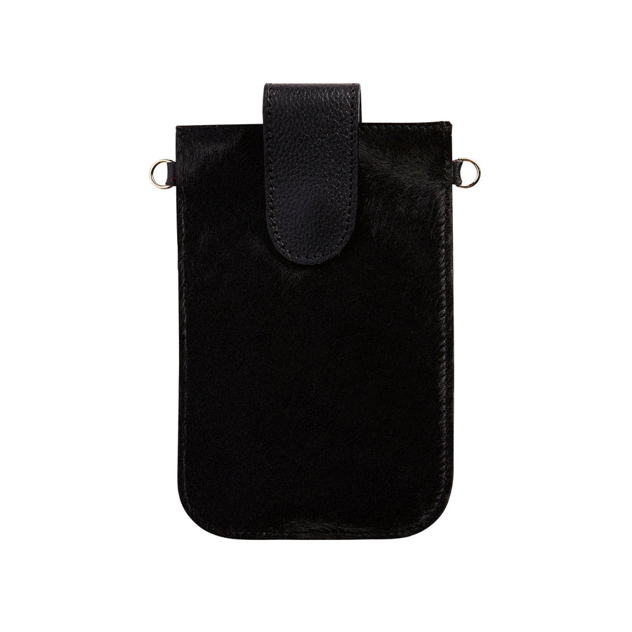 Mobile Phone Holder All Black Cowhide