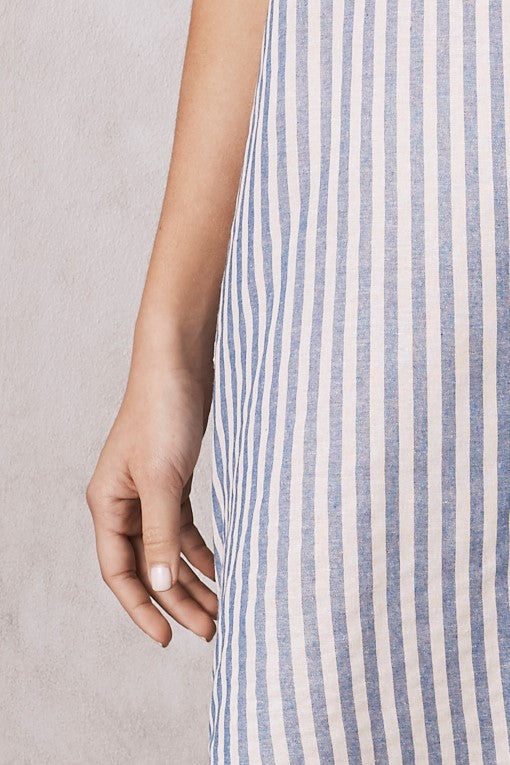 Striped Serina Dress Blue Cotton Linen