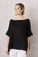 Bianca Short Sleeve Top Cotton Linen Black