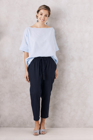 Cotton Linen Pants Navy