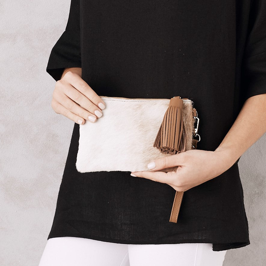 Mini Masai Mara Clutch Natural Cowhide