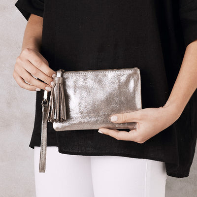 Mini Masai Mara Clutch Silver Metallic