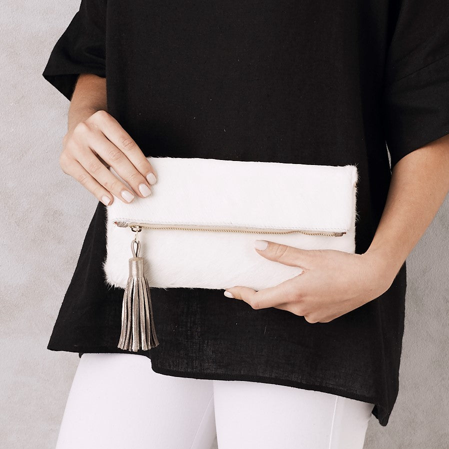 Carolina Cowhide Clutch All White