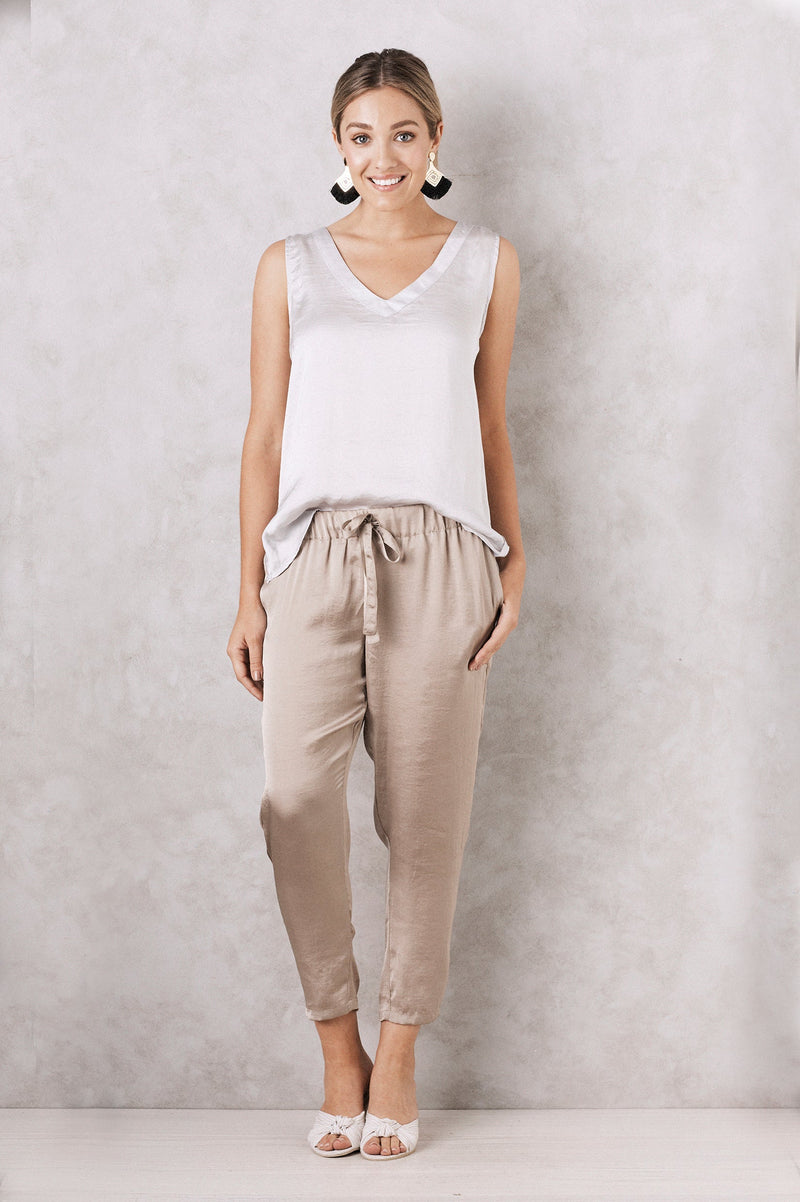 Chloe Sleeveless Top Light Grey