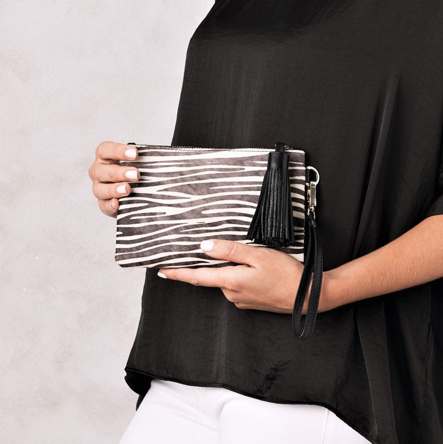 Mini Masai Mara Clutch Black and White Zebra