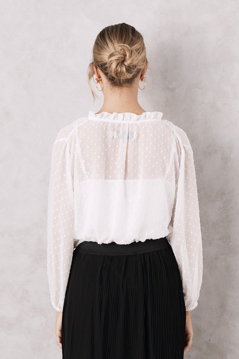 Ali Long Sleeve Blouse White