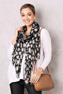 Animal Print Scarf Modal Black