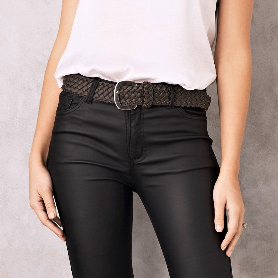 Plaited Jeans Belt Chocolate