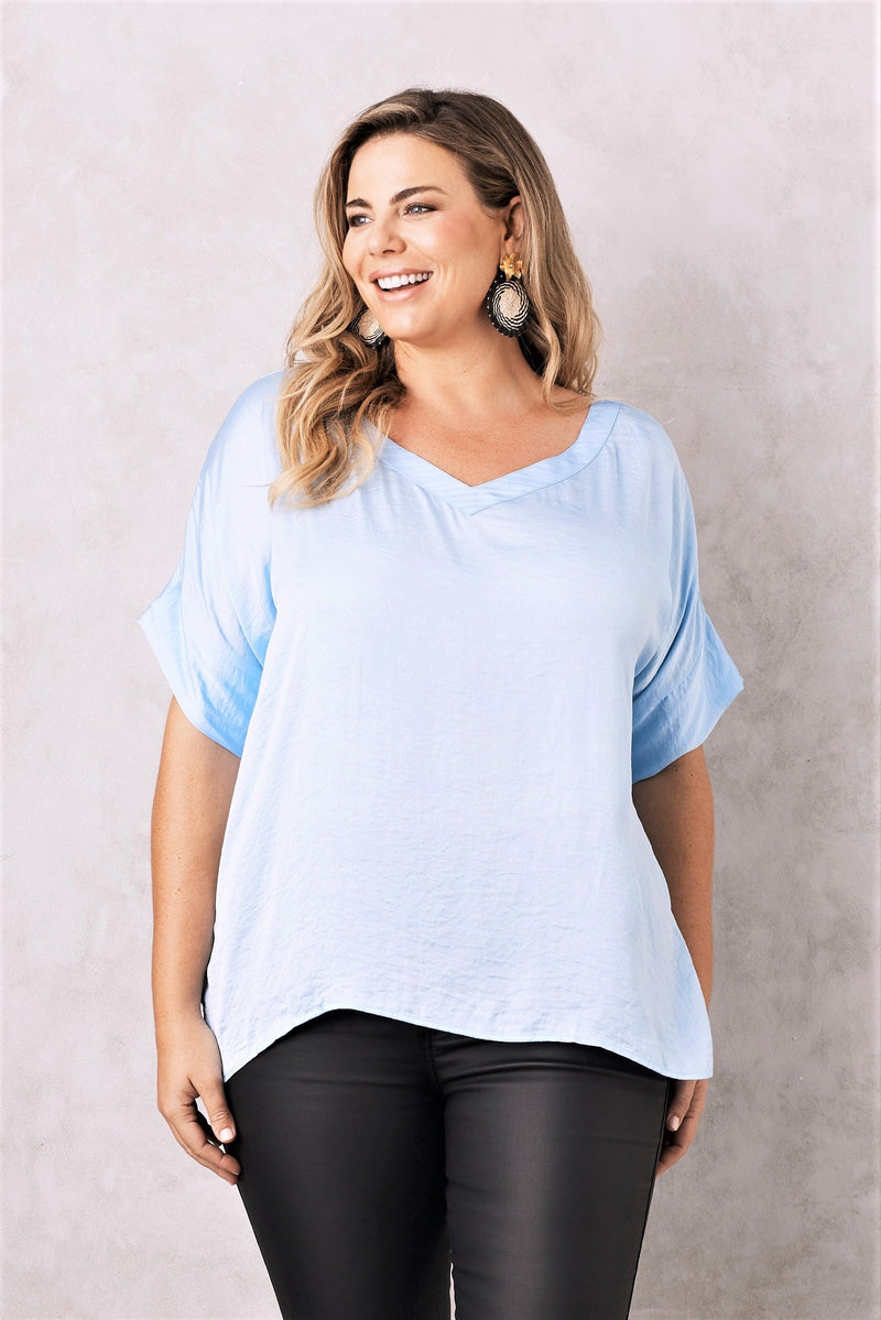 Bianca Short Sleeve Top Blue with V Neck