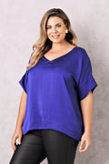 Bianca Short Sleeve Top Indigo with V Neck