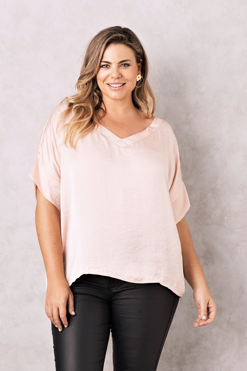 Bianca Short Sleeve Top Blush with V Neck