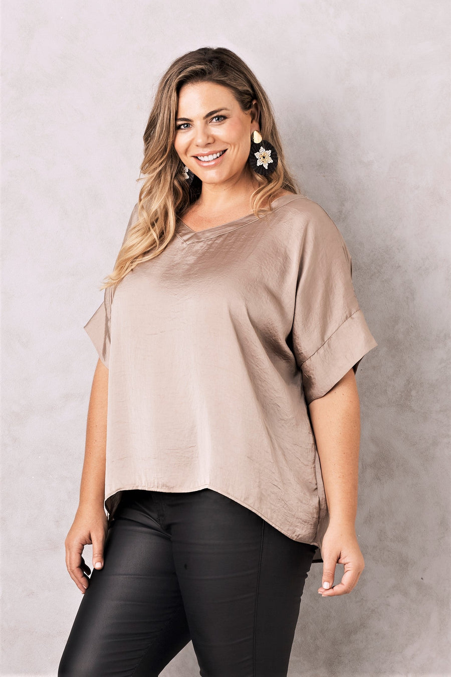 Bianca Top Almond with V Neck