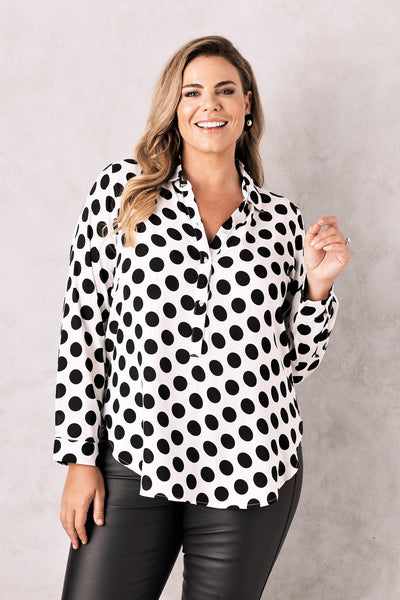 Polka Dots Collared Shirt White
