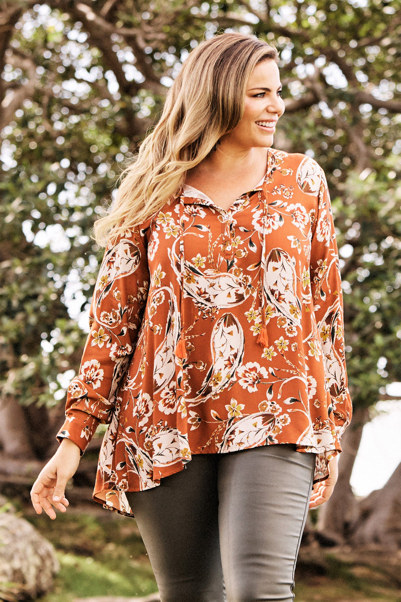 Paisley Top Burnt Orange