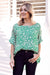 Bianca Top Kitty Print Emerald