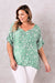 Bianca Top Kitty Print Emerald V Neck