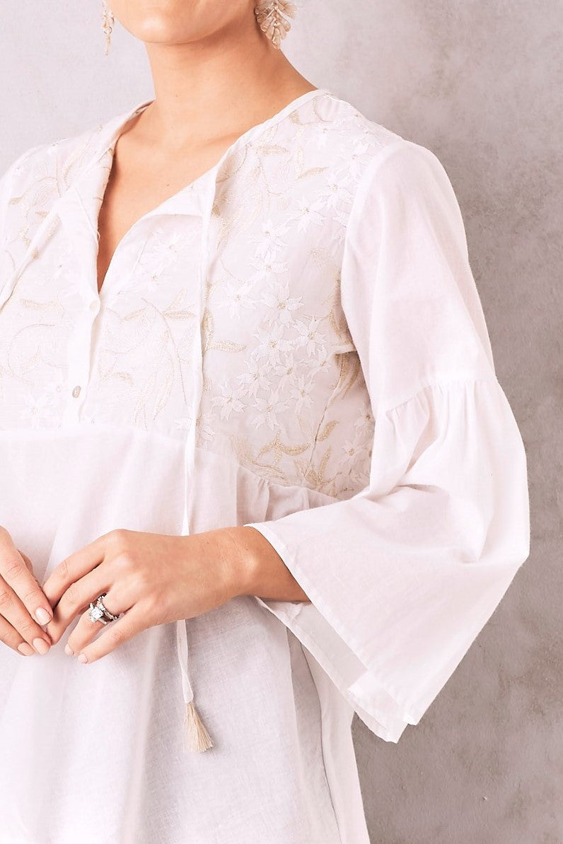 Manarola Embroidered Top Gold and White