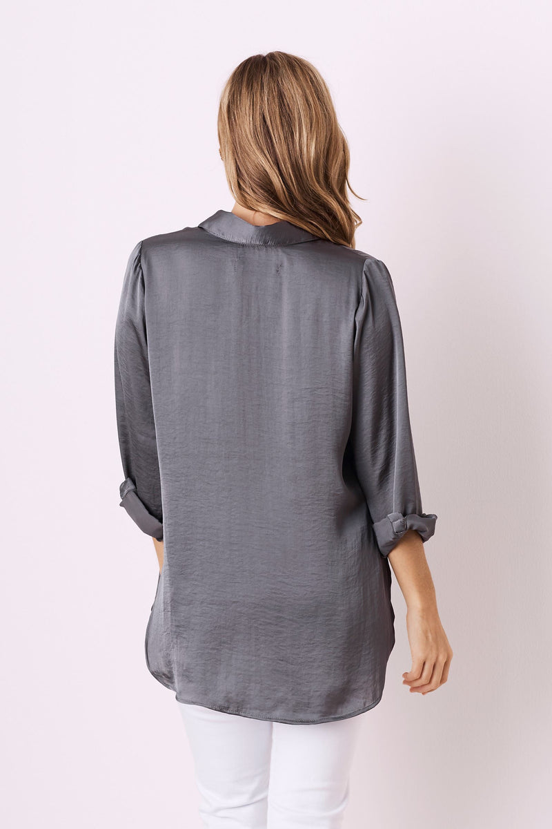 Athena Long Sleeve Collared Shirt Charcoal