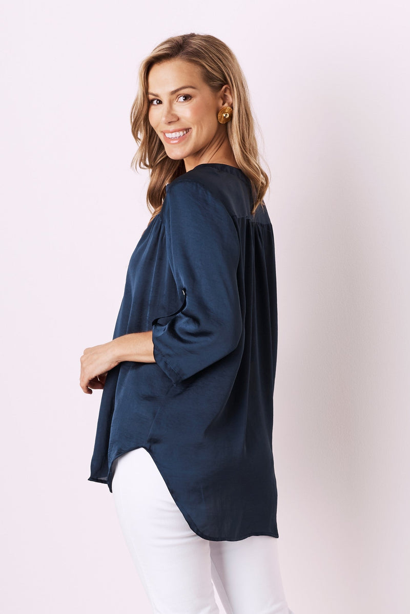 Tuscany Mid Sleeve Top Navy
