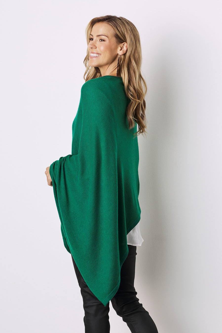 Cashmere and Wool Poncho Emerald