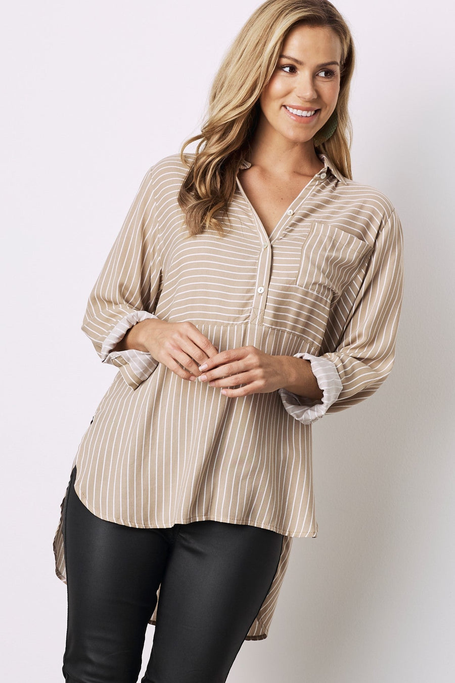 Ella Collared Shirt Beige With White Stripes