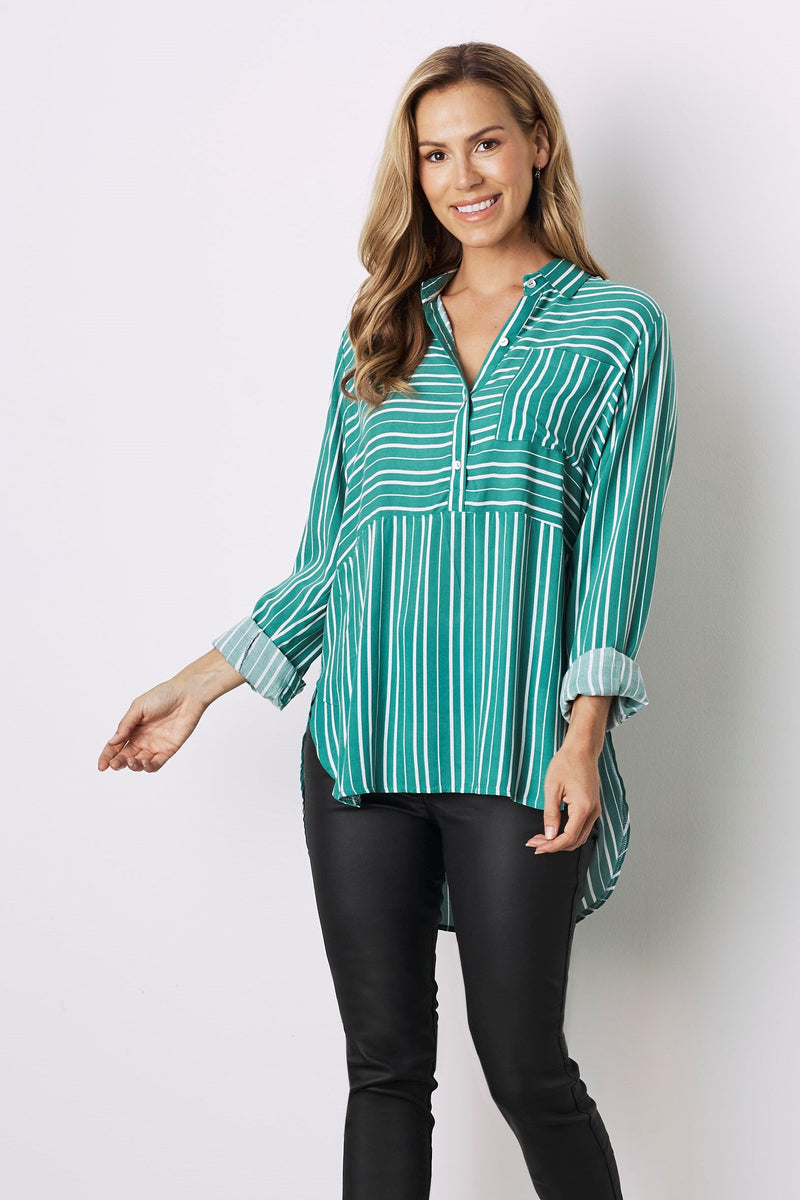 Ella Long Sleeve Collared Shirt Green with White Stripes