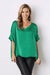 Bianca Short Sleeve Top Emerald with V Neck-Pre-Order