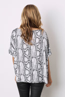 Grey Python Short Sleeve Top V Neck