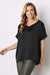 Bianca Short Sleeve Top Black with V Neck-Pre-Order