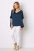 Bianca Top Navy with V Neck